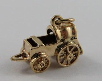 Baby Carriage 10K Gold Vintage Charm For Bracelet
