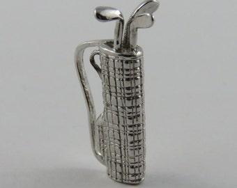 Golf Clubs Sterling Silver Vintage Charm For Bracelet
