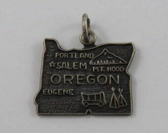 Map of Oregon State Sterling Silver Vintage Charm For Bracelet