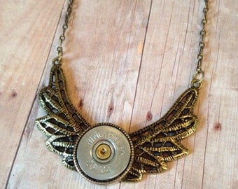 Brass Wings and 20 Gauge Shotgun Shell Necklace, Womens gifts, Bullet jewelry, Womens necklaces, Unique gifts