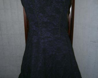 Women's Black and Purple Lace Corset Dress