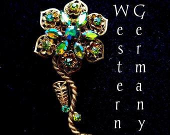 Western Germany Watermelon Rhinestone Gold Filigree Flower and Stem Vintage Brooch - Estate Jewelry - Carnival Glass Rhinestones