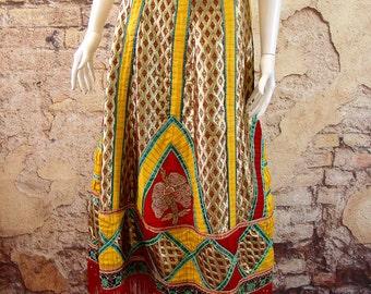 Long fringe maxi skirt Indian style ethnic hippy bohemian clothing red gold reworked size 14