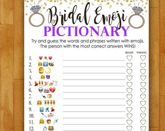 Bridal Shower Game Pictionary - EMOJI Pictionary - Purple and Gold - Instant Printable Digital Download - diy Bridal Shower Printables