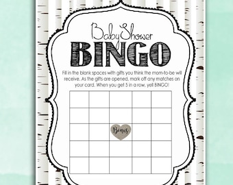 Woodland Baby Shower Game - Baby Bingo Game - Whitewash Trees - Wishes DIY Instant Printable Digital Download Baby Shower activities girl