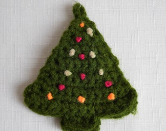 Knitted Christmas Tree Ornament, Forest Green with Peach, White and Fuschia Pink Balls