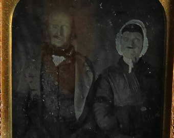 Antique Daguerreotype of Old Couple, 1/6th Plate, Comically Ugly People Photograph