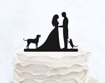 Bride And Groom Cake Topper With dog and cat_Wedding Cake Topper_Couple Silhouette__Custom Cake Topper_heart Cake Topper_rustic cake topper