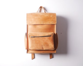 Handmade Tan LEATHER Backpack / Rucksack on Snap buttons from cowhide leather/ Simple leather Hipster backpack with one front pocket