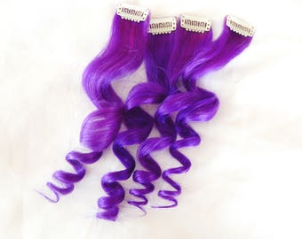 ULTRAVIOLET Purple 100% Human Hair Clip In Extensions, Double Wefted Hair, Remy Hair, Peakaboo Extensions, Hair Extensions, Streak Hair