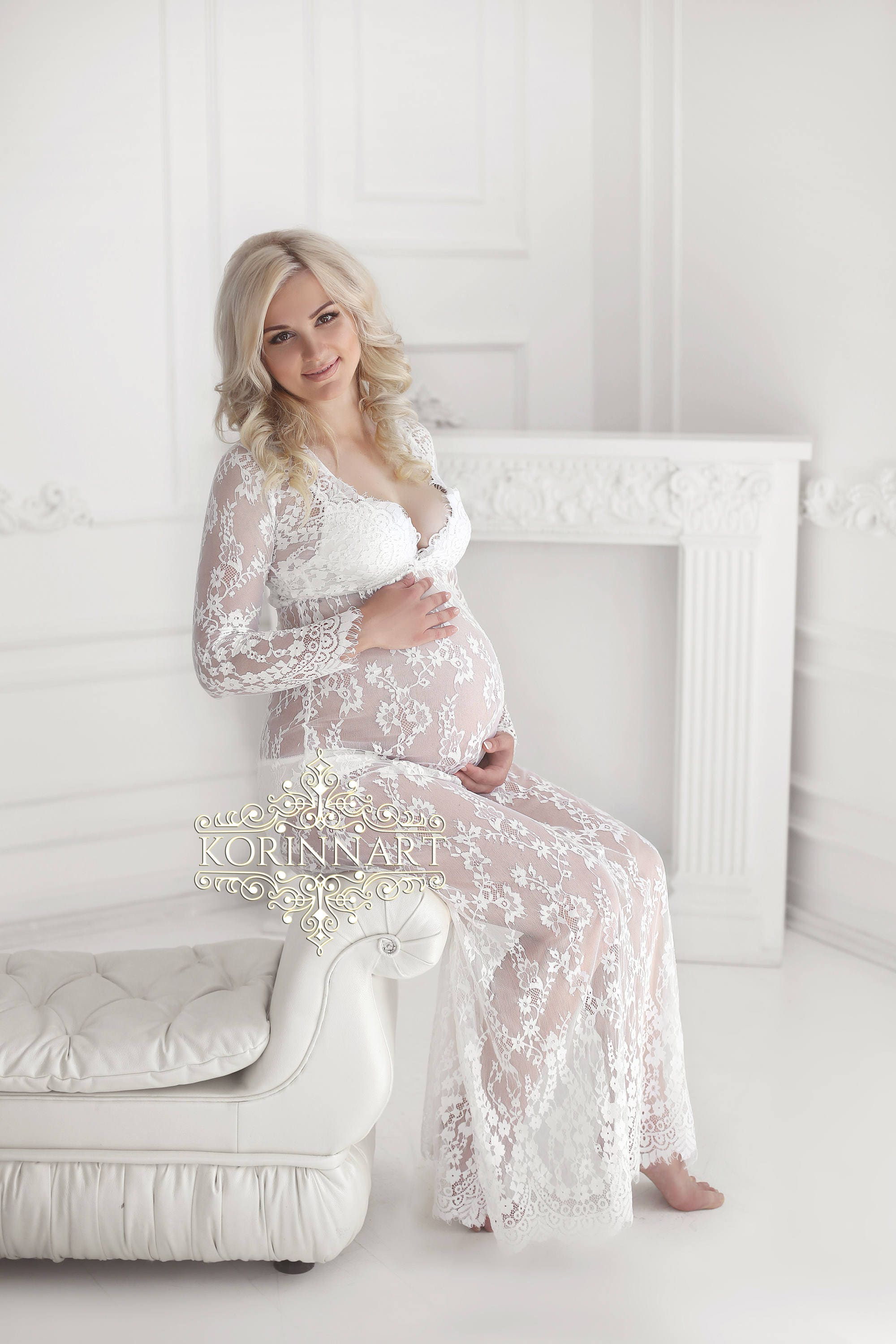 Glamour lace maternity gown/long sleeves maternity dress/floor