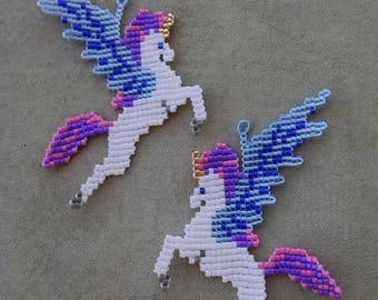 Beaded Unicorn Earrings, White, Blue, and Purple Winged Unicorn, Fantasy Jewelry, Cosplay Accessories