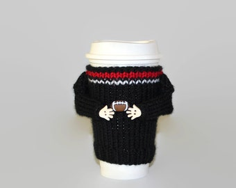 Black red football coffee sleeve. Football party The big game. Coffee cozy. Football gift. Coffee cozy. Travel mug sleeve. Coworker gift.