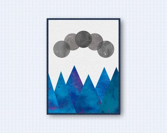 Moon Phases Geometric Watercolor Poster