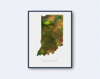 Indiana Map Watercolor Poster, United States Map Print, Green Version