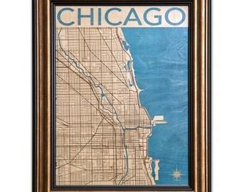 Chicago Wood Engraved 2D City Map - 18x24 - Laser Cut Map Decor