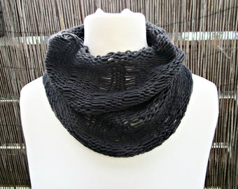 Black knit cowl scarf Knitted black scarf Knit circle scarf Cashmere black scarf Cashmere knit cowl Black neckwarmer Cozy black cowls