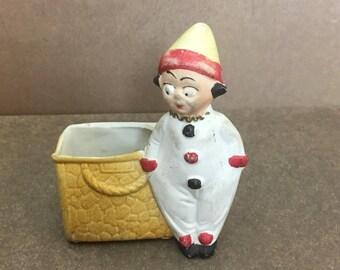 Small Vintage Bisque Ceramic Clown Pierrot Planter Figurine - Germany #3315