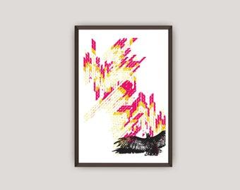 Vutlure Spread, Graphic Print Design, Graphic Illustration, Contemporary Home Decor, Instant Download Printable Art Poster, Vector Art