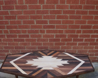 HEXAGON TABLE Navajo Aztec Native Boho Southwestern Mid-Century Wood Art