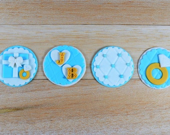 Engagement Cupcake Toppers, Wedding fondant toppers, engagement, wedding, love, ring, initials