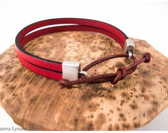 SALE~Leather anklet~Leather cuff bracelet~Women's leather bracelet~Nautical bracelet~Leather jewellery~Women's leather gift~Gift for women