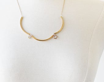 Simple Gold Necklace - Elegant Party Necklace - Delicate Necklace for Bridesmaids - Short Delicate Necklace - Jewelry Gift Under 25