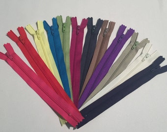 YKK Nylon Zippers 8 Inches Coil #3 Closed Bottom Assorted Colors