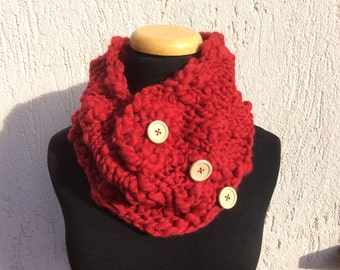 Knit red scarf Merino Wool, red tube scarf  Woman red neck warmer