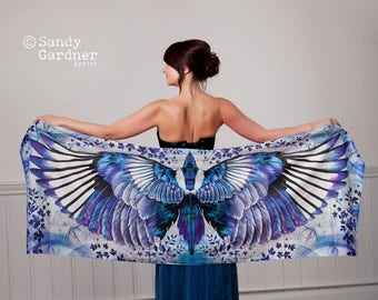 wing scarf, blue bird, bohemian scarf, sarong,fairy scarf, present, Scarf, Bird Scarf,  angel wings, Winged scarf, winged shawl,