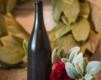 Black Glitter Wine Bottle Centerpiece Wedding Decor Modern Vase Candles