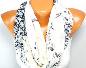 infinity Scarf, Shawl, Scarves, Music Note Print Scarf, infinity Shawl with Music Note Pattern, Music Note Painted, Lightweight Summer Scarf
