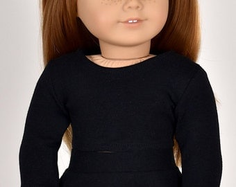 Long sleeve cropped top for 18 inch dolls Color Black