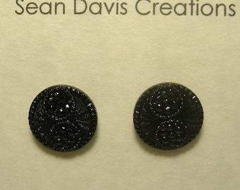 Victorian Era Black glass Repurposed Button Stud Earrings, Sterling Silver, E-40