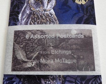 Set of 6 postcards from Original etchings by Moira McTague