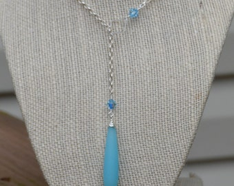 Blue Sea Glass Lariat Necklace in Silver with Swarovski Crystal