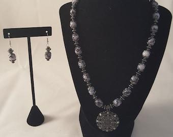 Gun Metal Pendant Necklace - Black & White Necklace - Black Necklace - White Necklace - Gun Metal Necklace - Jewelry Set - Gun Metal Earring