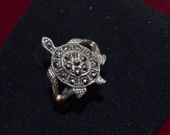 Turtle Ring, Tortoise Ring, Marcasite Ring, Marcasite, Turtle Marcasite Ring (R86)
