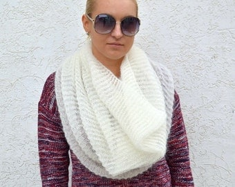 Chunky scarf white infinity mohair scarf hand knit cowl knitted infinity scarf knit shawl white cowl mohair knit scarf infinity circle scarf