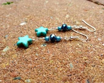 Blue ceramic earrings. Stars earrings. Turquoise earrings