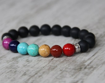 energy bracelet mala 7 chakra bracelet yoga healing bracelet meditation bracelet colorful bracelet birthday gift men brother gifts for guy