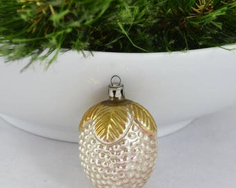 Vintage Molded Glass Christmas Ornament, Delicate Berries Ornament