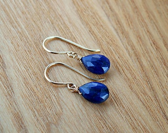 Blue Sapphire Earrings, September Birthstone, Natural Sapphire Jewelry, Genuine Gemstone Earrings: Gold Filled, Rose Gold, Sterling Silver