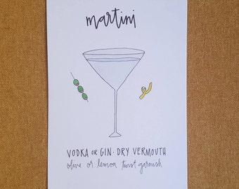 Martini // 5x7 watercolor + ink