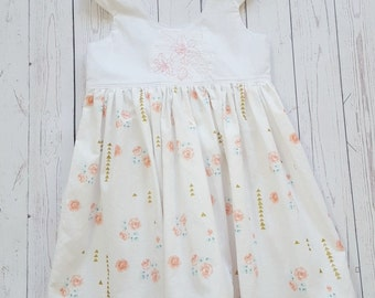 Ready to ship size 1 tea party dress-handmade-girls party dress-embroidered dress-baby dress