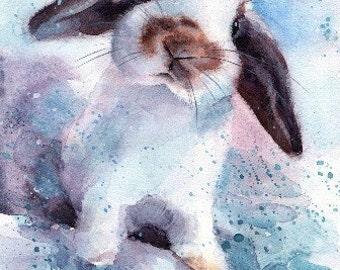 Bunny print Rabbit Print Bunny Watercolor Christmas gift Love Watercolor Print Christmas print Bunny painting Funny print Cute Bunny poster