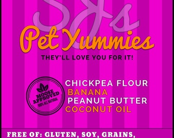 Pet/Dog Treat / Gluten Free / Grain Free / No Additives / No Preservatives / No Xylitol/ Chickpea / Banana / Peanut Butter / Coconut Oil