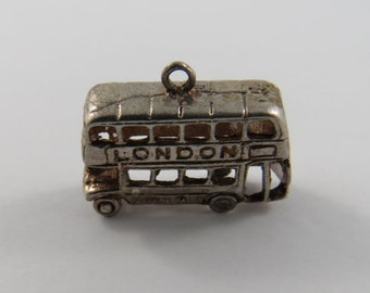London Double Decker Bus Sterling Silver Charm.