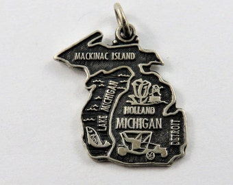 Map of State of Michigan Sterling Silver Charm.