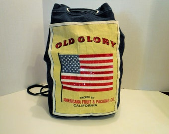 RETRO Denim Drawstring Backpack, Old Glory Backpack, Blue Jean Cinch Bag Backpack, Drawstring Bag, American Fruit & Packing Co. California